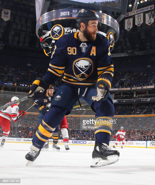 Ryan O'Reilly of the Buffalo Sabres skates against the Carolina Hurricanes during an NHL game on December 15 2017 at KeyBank Center in Buffalo New...