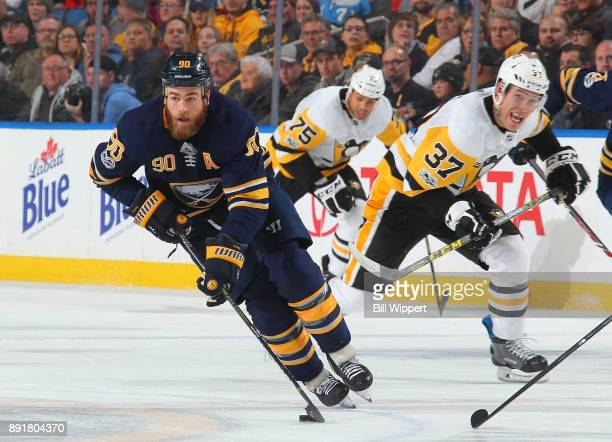 Ryan O'Reilly of the Buffalo Sabres skates against the Pittsburgh Penguins during an NHL game on December 1 2017 at KeyBank Center in Buffalo New York