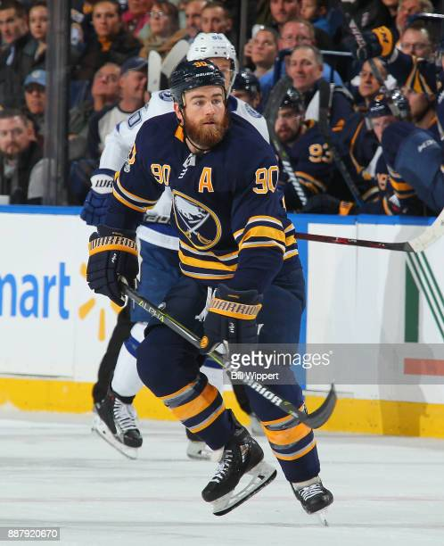 Ryan O'Reilly of the Buffalo Sabres skates against the Tampa Bay Lightning during an NHL game on November 28 2017 at KeyBank Center in Buffalo New...