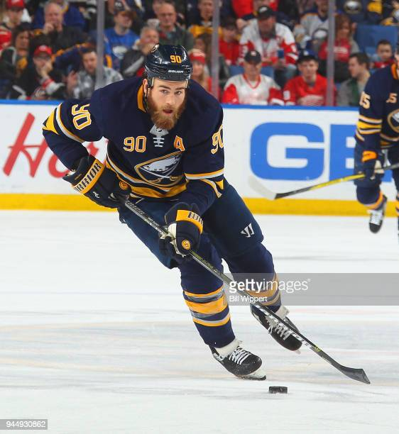 Ryan O'Reilly of the Buffalo Sabres skates during an NHL game against the Detroit Red Wings on March 29 2018 at KeyBank Center in Buffalo New York...