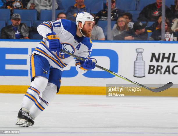Ryan O'Reilly of the Buffalo Sabres skates during an NHL game against the Ottawa Senators on April 4 2018 at KeyBank Center in Buffalo New York Ryan...