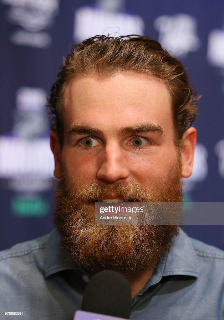Ryan O'Reilly of the Buffalo Sabres speaks during media availability at the Hard Rock Hotel & Casino on June 19, 2018 in Las Vegas, Nevada.