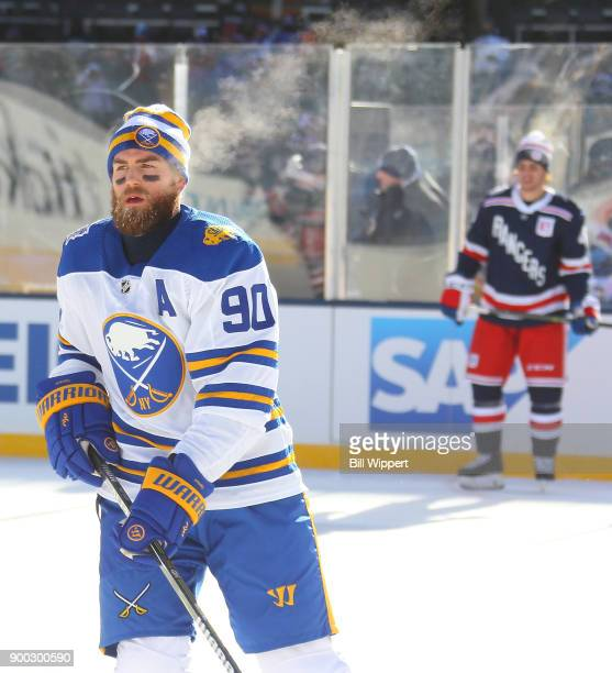 Ryan O'Reilly of the Buffalo Sabres warms up prior to the 2018 Bridgestone NHL Winter Classic at Citi Field against the New York Rangers on January 1...