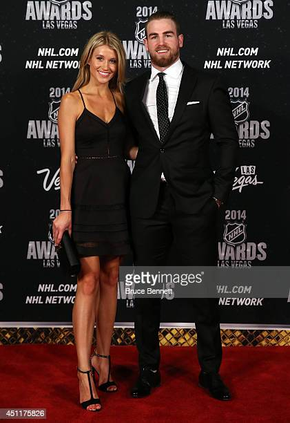 Ryan O'Reilly of the Colorado Avalanche and Dayna Douros arrive on the red carpet prior to the 2014 NHL Awards at Encore Las Vegas on June 24 2014 in...