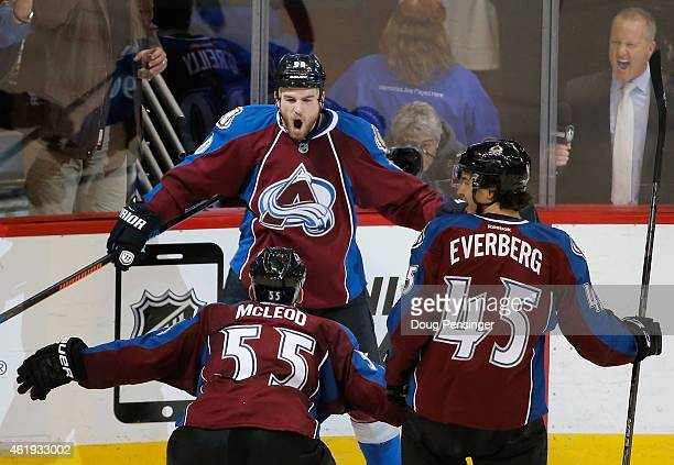 Ryan O'Reilly of the Colorado Avalanche celebrates his game tying goal against the Boston Bruins with teammates Cody McLeod and Dennis Everberg of...