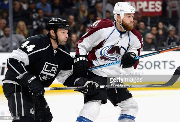 Ryan O'Reilly of the Colorado Avalanche plays in the game against Robyn Regehr of the Los Angeles Kings at Staples Center on April 4 2015 in Los...