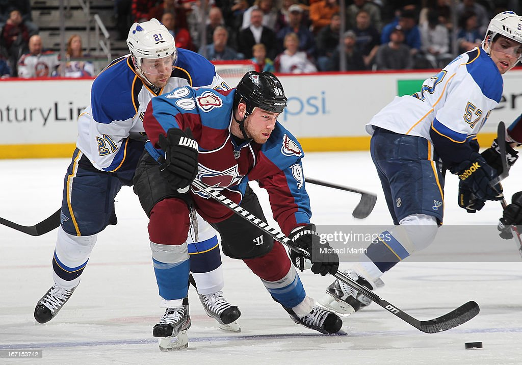 Ryan O'Reilly #90 of the Colorado Avalanche skates against Patrik Berglund #21 of the St Louis Blues at the Pepsi Center on April 21, 2013 in Denver, Colorado.