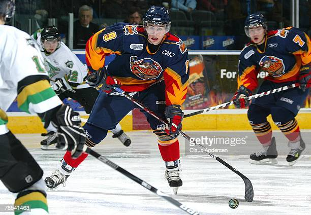 Ryan O'Reilly of the Erie Otters carries the puck in a game against the London Knights on December 14 2007 at the John Labatt Centre in London...