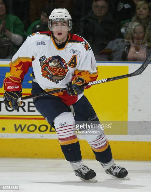 Ryan O'Reilly of the Erie Otters skates in game one of the opening round of the 2009 playoffs against the London Knights on March 20 2009 at the John...