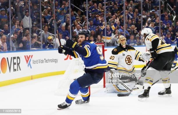 Ryan O'Reilly of the St Louis Blues celebrates his third period goal at 1038 against the Boston Bruins in Game Four of the 2019 NHL Stanley Cup Final...