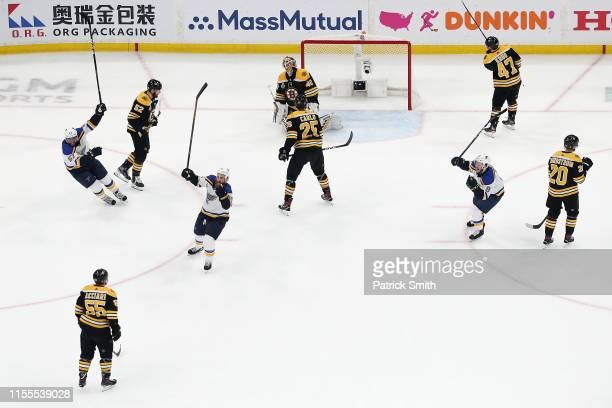 Ryan O'Reilly of the St Louis Blues is congratulated by his teammates after scoring a first period goal against the Boston Bruins in Game Seven of...