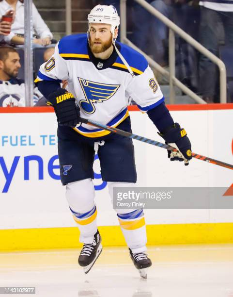 Ryan O'Reilly of the St Louis Blues keeps an eye on the play during second period action against the Winnipeg Jets in Game Two of the Western...
