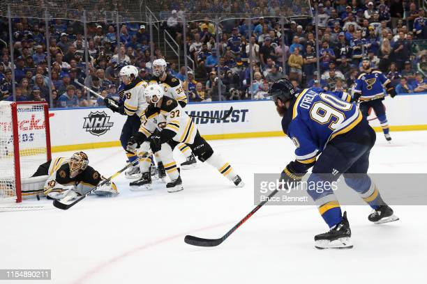 Ryan O'Reilly of the St Louis Blues scores a third period goal past Tuukka Rask of the Boston Bruins in Game Six of the 2019 NHL Stanley Cup Final at...