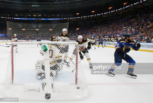Ryan O'Reilly of the St Louis Blues shoots the puck past Tuukka Rask of the Boston Bruins for a third period goal at 1038 in Game Four of the 2019...