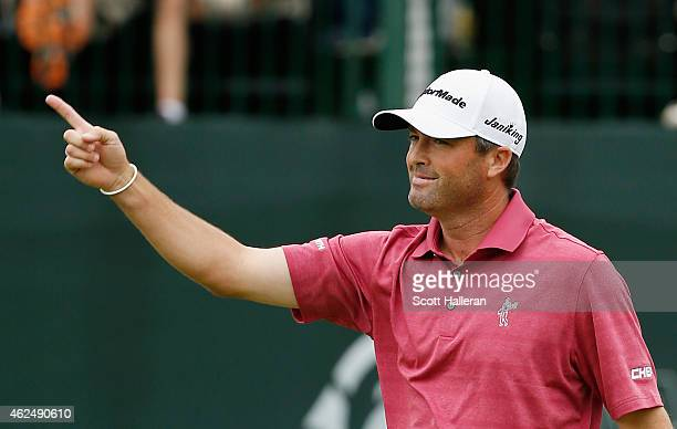 Ryan Palmer celebrates after a birdie putt on the 16th hole during the first round of the Waste Management Phoenix Open at TPC Scottsdale on January...