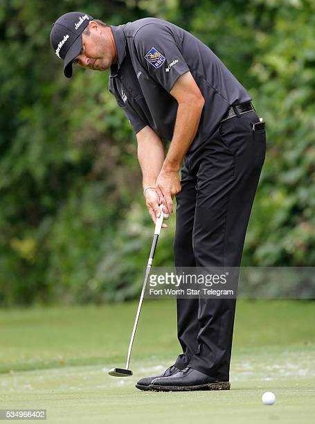 Ryan Palmer comes up short on a birdie putt on the 7th hole during the third round of the Dean & DeLuca Invitational at Colonial Country Club in Fort...