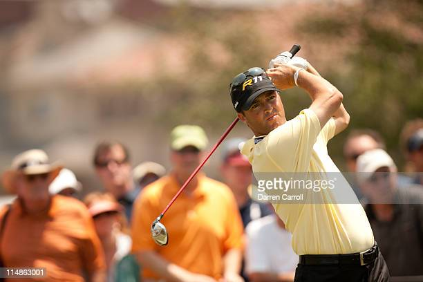Ryan Palmer follows through on a tee shot during the second round of the HP Byron Nelson Championship at TPC Four Seasons at Las Colinas on May 27...
