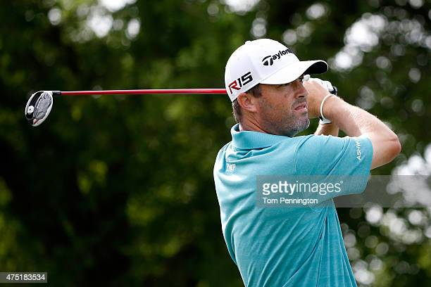 Ryan Palmer hits his tee shot on the ninth hole during Round Two of the ATT Byron Nelson at the TPC Four Seasons Resort Las Colinas on May 29 2015 in...