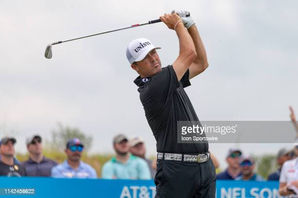 Ryan Palmer hits his tee shot on the short par 3 eighth hole during the first round of the ATT Byron Nelson on May 9 2019 at Trinity Forest Golf Club...