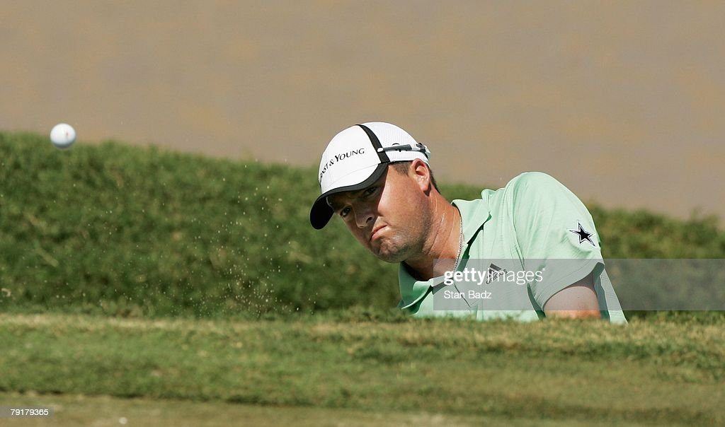 Ryan Palmer hits out of the bunker at the 18th green during Wednesday's Pro-Am of the Movistar Panama Championship held at Club de Golf de Panama on January 23, 2008 in Panama City, Republica De Panama.