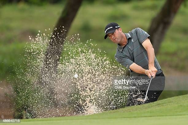 Ryan Palmer hits out of the bunker on the 2nd during Round Two of the Zurich Classic of New Orleans at TPC Louisiana on April 25 2014 in Avondale...
