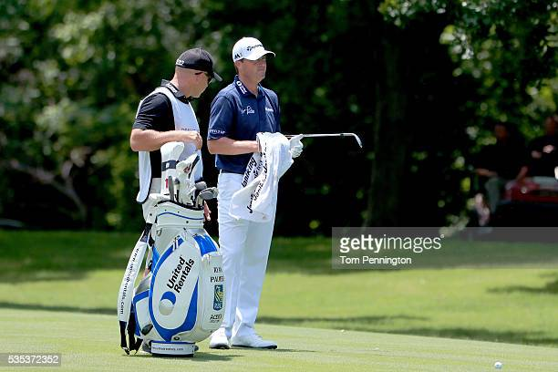 Ryan Palmer is seen with his caddie on the seventh hole during the Final Round of the DEAN DELUCA Invitational at Colonial Country Club on May 29...