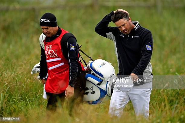 Ryan Palmer of the United States and caddie James Edmondson walk on the 3rd hole during the third round on day three of the 145th Open Championship...