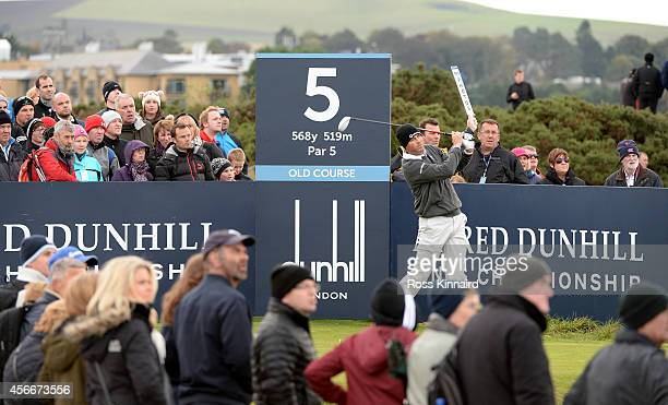 Ryan Palmer of the United States drives off the fifth tee during the final round of the 2014 Alfred Dunhill Links Championship at The Old Course on...