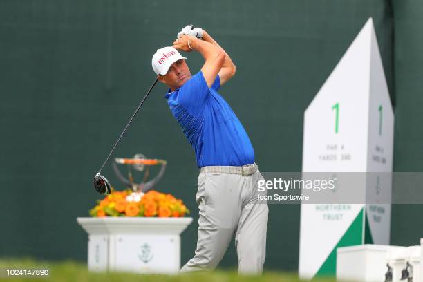 Ryan Palmer of the United States plays his shot from the first tee during the third round of The Northern Trust on August 25, 2018 at the Ridgewood...