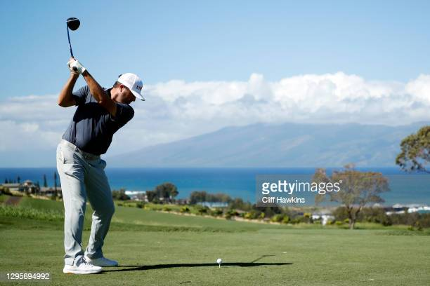 Ryan Palmer of the United States plays his shot from the seventh tee during the final round of the Sentry Tournament Of Champions at the Kapalua...