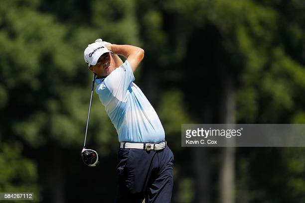 Ryan Palmer of the United States plays his shot from the sixth tee during the first round of the 2016 PGA Championship at Baltusrol Golf Club on July...