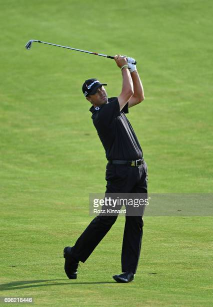 Ryan Palmer of the United States plays his shot on the 11th hole during the first round of the 2017 US Open at Erin Hills on June 15 2017 in Hartford...
