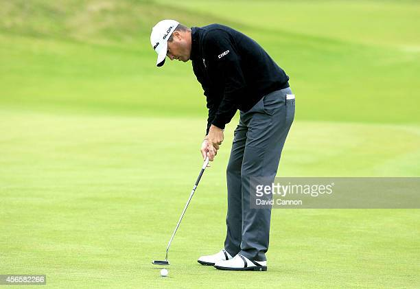 Ryan Palmer of the USA on the 12th green during the second round of the 2014 Alfred Dunhill Links Championship at Kingsbarns on October 3 2014 in...