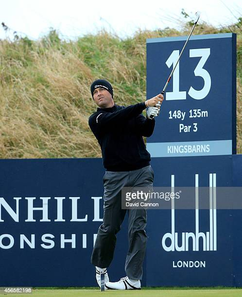 Ryan Palmer of the USA on the 13th tee during the second round of the 2014 Alfred Dunhill Links Championship at Kingsbarns on October 3 2014 in...
