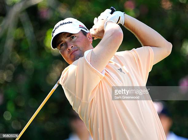 Ryan Palmer plays a shot on the 9th hole during the second round of the Sony Open at Waialae Country Club on January 15 2010 in Honolulu Hawaii