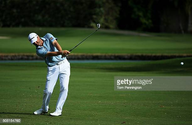 Ryan Palmer plays a shot on the third hole during the second round of the Sony Open In Hawaii at Waialae Country Club on January 15 2016 in Honolulu...