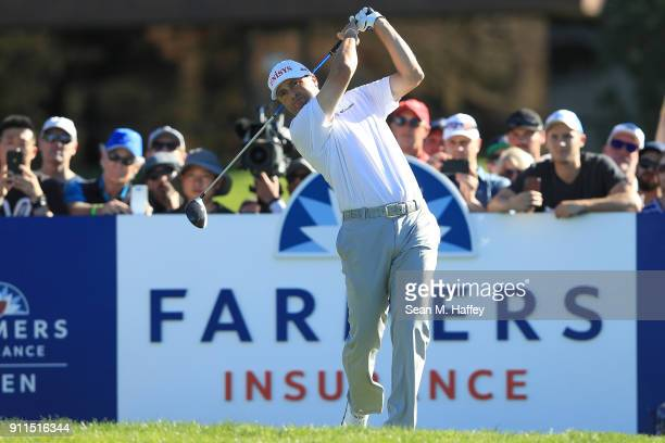 Ryan Palmer plays his shot from the 14th tee during the final round of the Farmers Insurance Open at Torrey Pines South on January 28 2018 in San...
