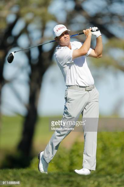 Ryan Palmer plays his shot from the fifth tee during the final round of the Farmers Insurance Open at Torrey Pines South on January 28 2018 in San...