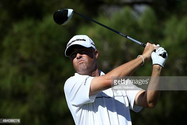 Ryan Palmer plays his shot from the first tee during the third round of the Shriners Hospitals For Children Open on October 24 2015 at TPC Summerlin...