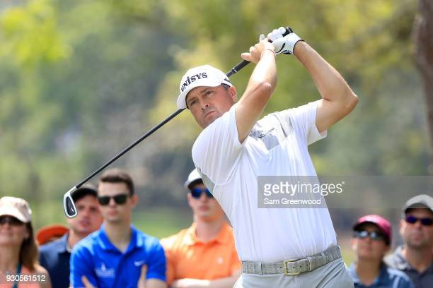 Ryan Palmer plays his shot from the second tee during the final round of the Valspar Championship at Innisbrook Resort Copperhead Course on March 11...