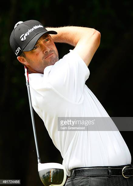 Ryan Palmer plays his tee shot on the first hole during the third round of the HP Byron Nelson Championship at the TPC Four Seasons on May 17 2014 in...