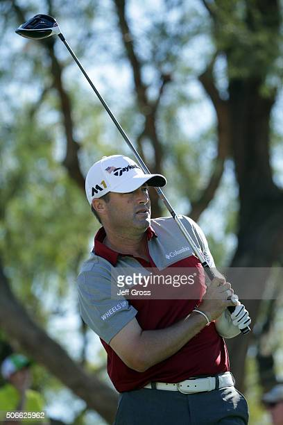 Ryan Palmer plays his tee shot on the third hole during the final round of the CareerBuilder Challenge In Partnership With The Clinton Foundation at...