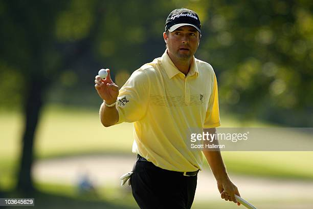 Ryan Palmer reacts after he made a birdie putt on the fifth hole during the first round of The Barclays at the Ridgewood Country Club on August 26...