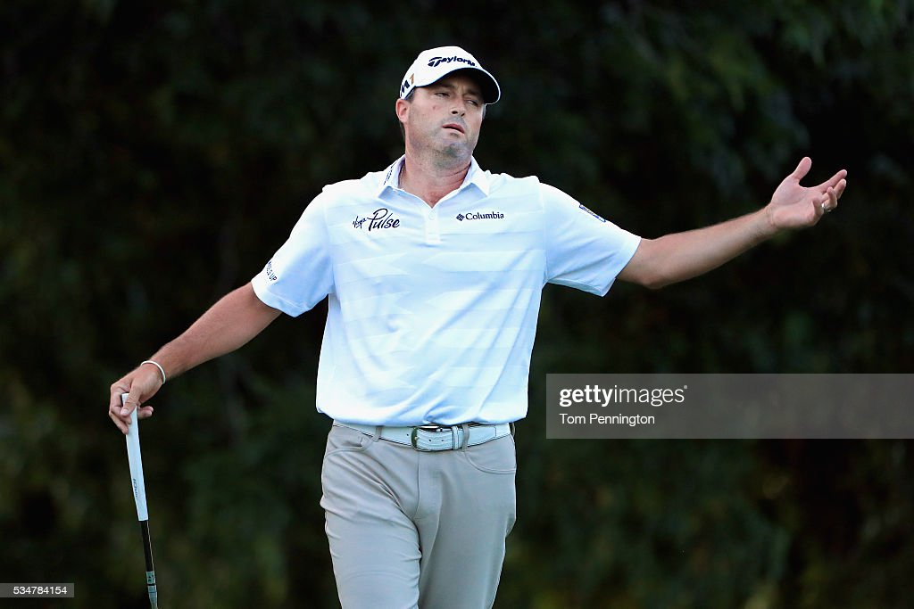 Ryan Palmer reacts to a missed putt on the on the 17th green during the Second Round of the DEAN & DELUCA Invitational at Colonial Country Club on May 27, 2016 in Fort Worth, Texas.