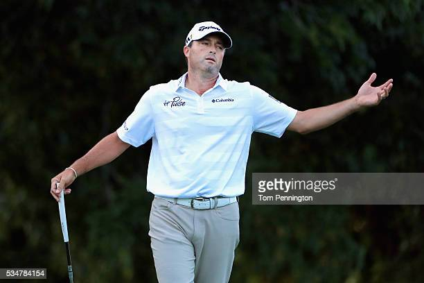 Ryan Palmer reacts to a missed putt on the on the 17th green during the Second Round of the DEAN DELUCA Invitational at Colonial Country Club on May...