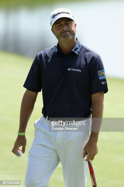Ryan Palmer reacts to his putt on the 18th hole during the final round of the Barracuda Championship at Montreux Country Club on August 6 2017 in...