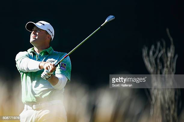 Ryan Palmer tees off on the 16th hole during the third round of the Waste Management Phoenix Open at TPC Scottsdale on February 6 2016 in Scottsdale...