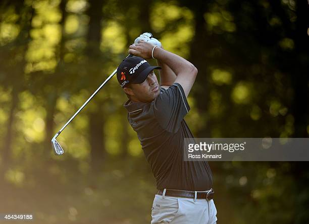 Ryan Palmer tees off on the eighth hole during the first round of the Deutsche Bank Championship at the TPC Boston on August 29 2014 in Norton...