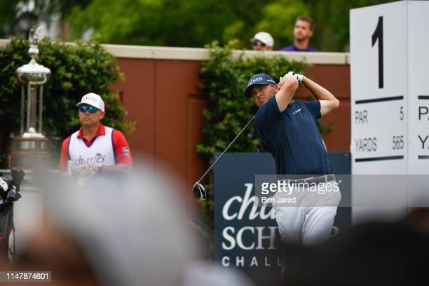 Ryan Palmer tees off on the first tee box during the final round of the Charles Schwab Challenge at Colonial Country Club on May 26 2019 in Fort...