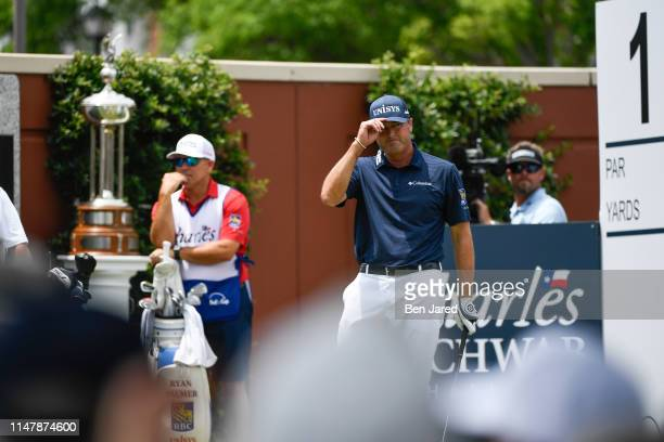 Ryan Palmer tips his hat to fans on the first tee box during the final round of the Charles Schwab Challenge at Colonial Country Club on May 26 2019...